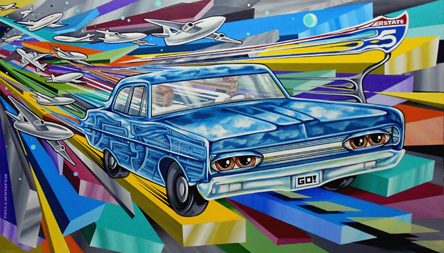 Hallucinogens on the 5 38x22  ron wharton rwharton art the art pimp  lowbrow art pop surrealist san diego california